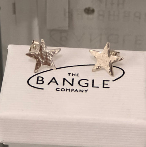 Handmade Sterling Silver Hammered Star Earrings