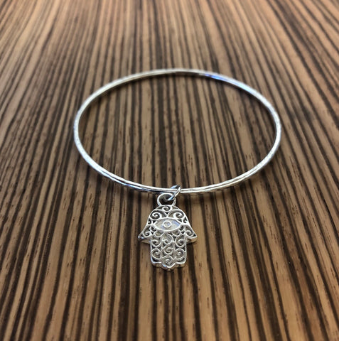 Hand of Hamsa Sterling Silver Bangle Bracelet by The Bangle Company Bespoke Handmade in the UK