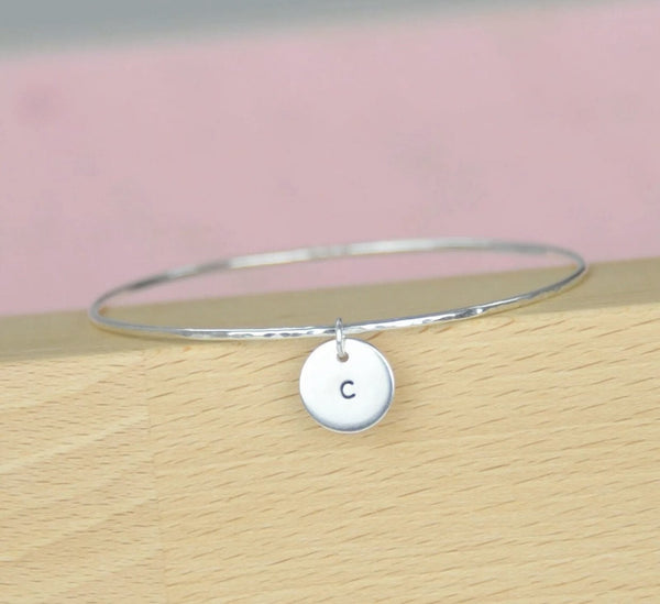 Skinny Disc Charm Bangle