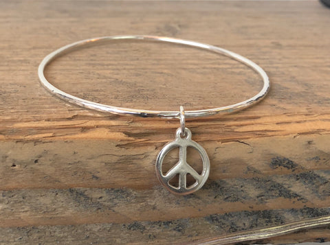 Peace Sign Peace Bangle Sterling Silver Handmade