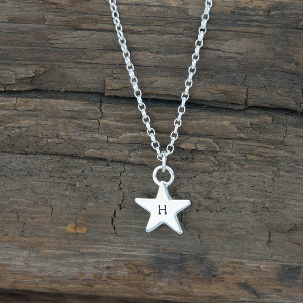 sterling silver star personalised engraved necklace 925