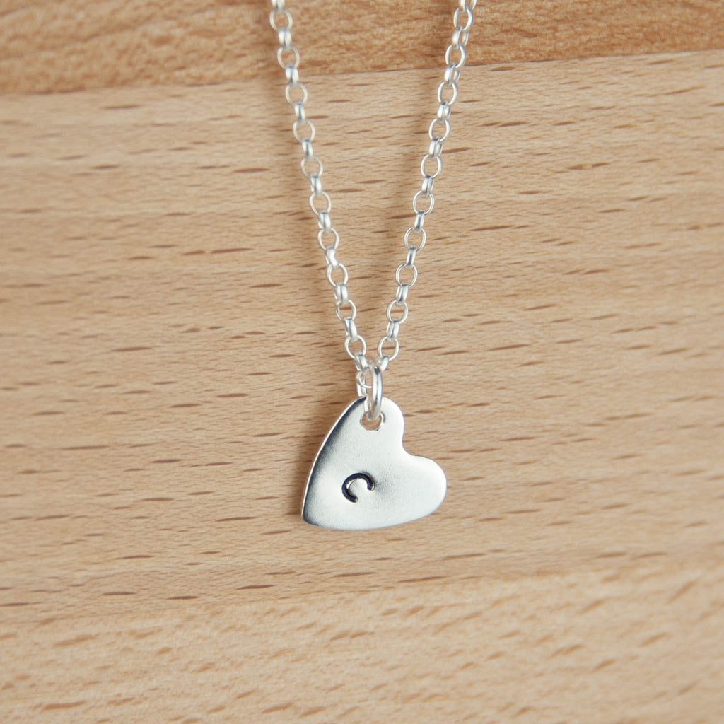 Sterling silver personalised heart necklace 925 initial