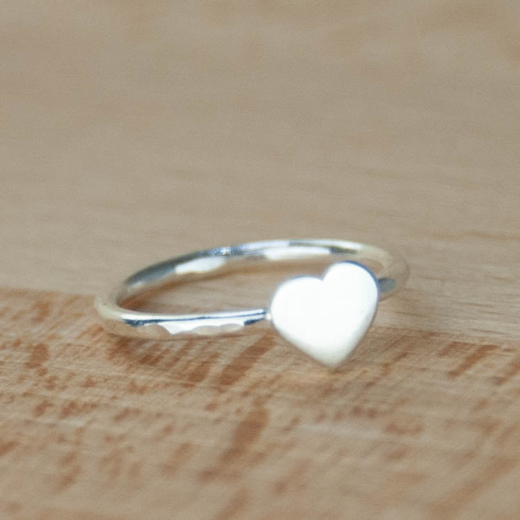 Skinny sterling silver heart stacker ring