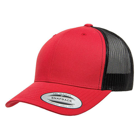 6 PANEL RETRO TRUCKER 2-TONE RED/BLACK