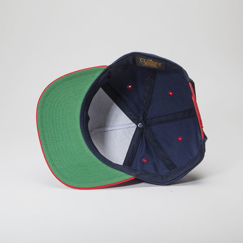 Yupoong The Classic 5 Panel Snapback Navy/Red