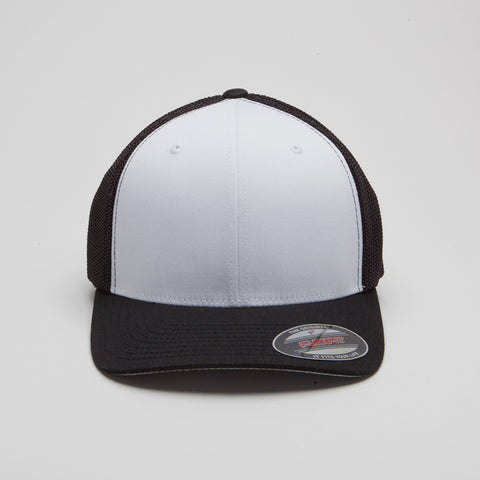 Flexfit Mesh Trucker with White Front Panels Black