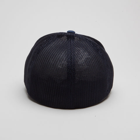 Flexfit Mesh Trucker with White Front Panels Navy