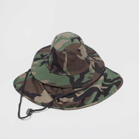 Bucket Hat with Neck Cover Green Camo