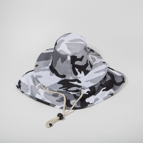 Bucket Hat with Neck Cover Black Camo