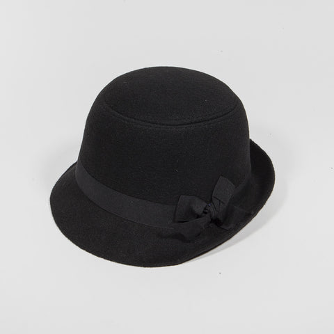 Bowler Dervy Wool Fedora Vintage Roll Up Women Fedora Hat Black