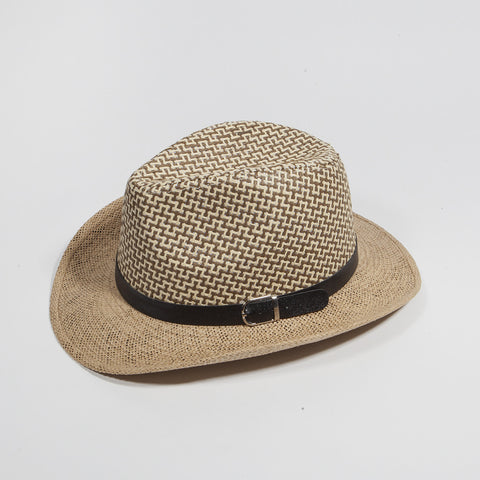 Men Fedora Trilby Cap Straw with Belt 1