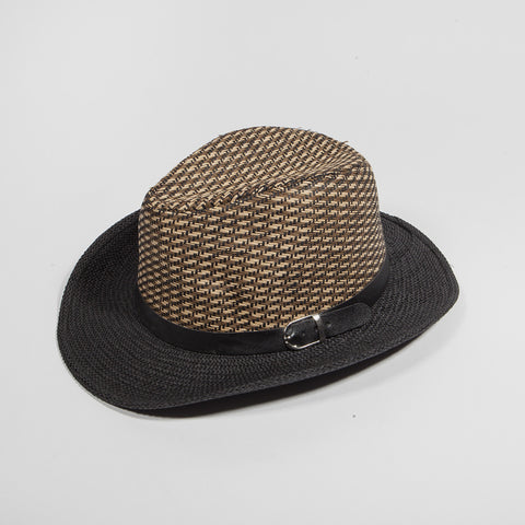 Men Fedora Trilby Cap Straw with Belt 4