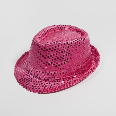 Sequin Fedora Hat Hot Pink