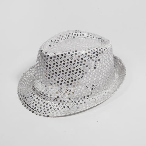Sequin Fedora Hat Silver
