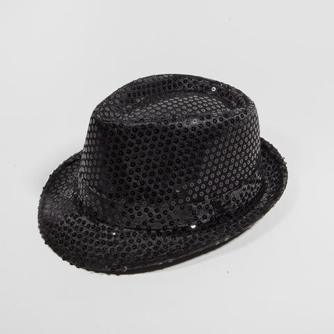 Sequin Fedora Hat Black