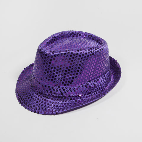 Sequin Fedora Hat Purple