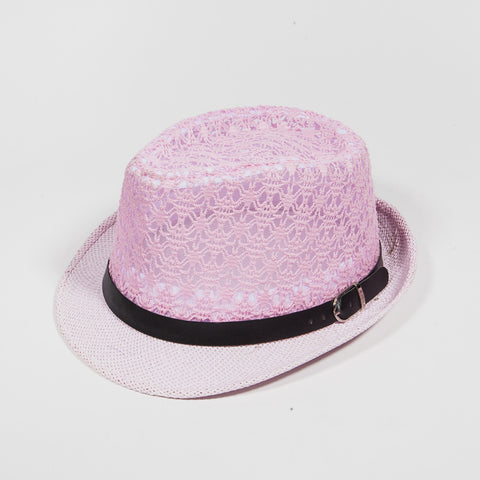 Mesh Crown with Leather Belt Fedora Hat Pink