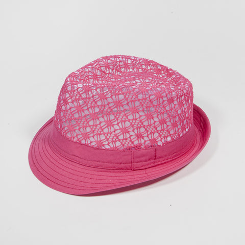Mesh Crown Fedora Hat Hot Pink