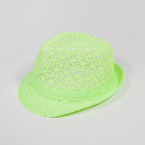 Mesh Crown Fedora Hat Neon Green
