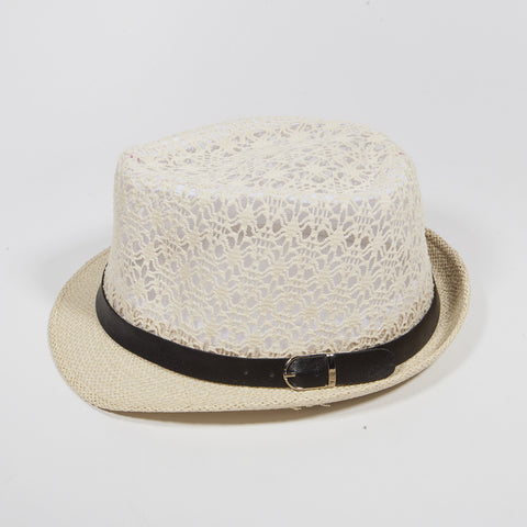 Mesh Crown with Leather Belt Fedora Hat Ivory