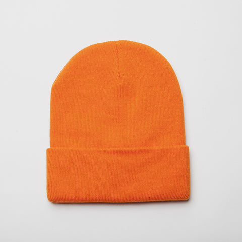 Plain Long Cuff Beanie Orange