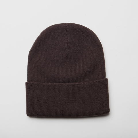 Plain Long Cuff Beanie Brown