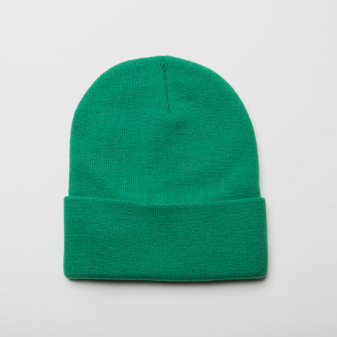 Plain Long Cuff Beanie Kelly Green