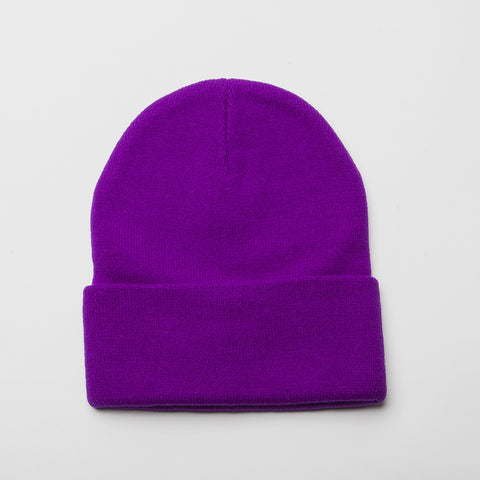 Plain Long Cuff Beanie Purple