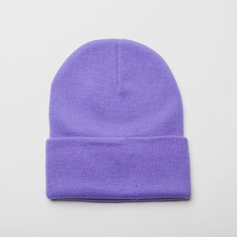 Plain Long Cuff Beanie Medium Purple