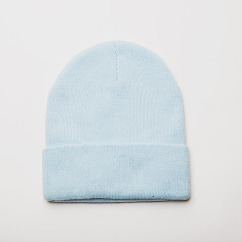 Plain Long Cuff Beanie Powder Blue