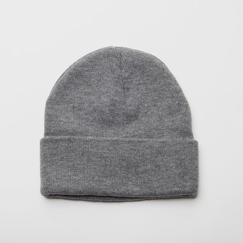 Plain Long Cuff Beanie Heather Grey
