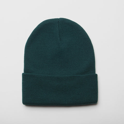 Plain Long Cuff Beanie Dark Green