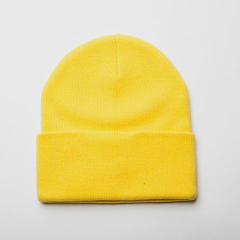 Plain Long Cuff Beanie Yellow