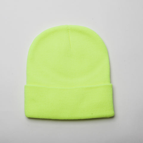 Plain Long Cuff Beanie Lemon