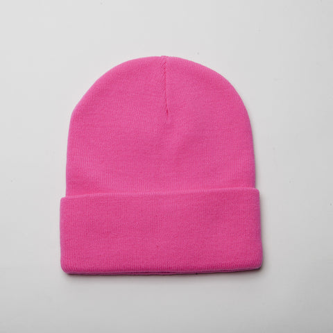 Plain Long Cuff Beanie Hot Pink