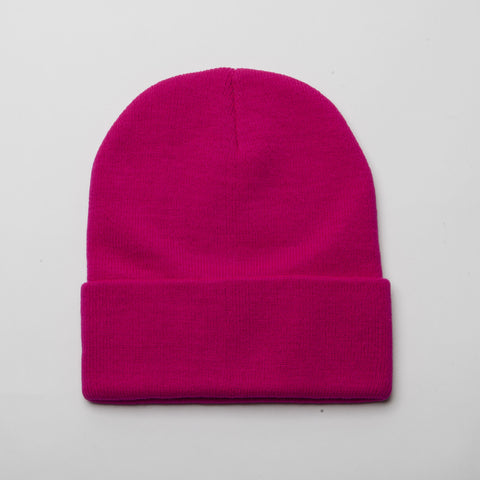 Plain Long Cuff Beanie Deep Pink