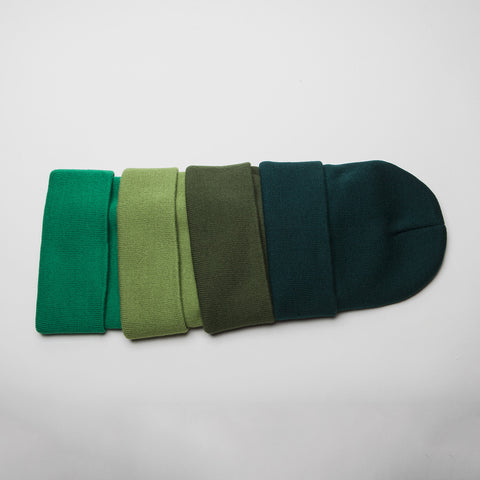 Plain Long Cuff Beanie Yellow Green