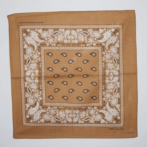 Classic Paisley Pattern Bandanas (Dozen Packed) Natural Brown