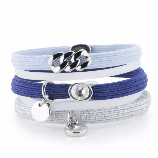 Hair Ties - Navy, Light Blue & Silver lurex with Silver, The Rubz
