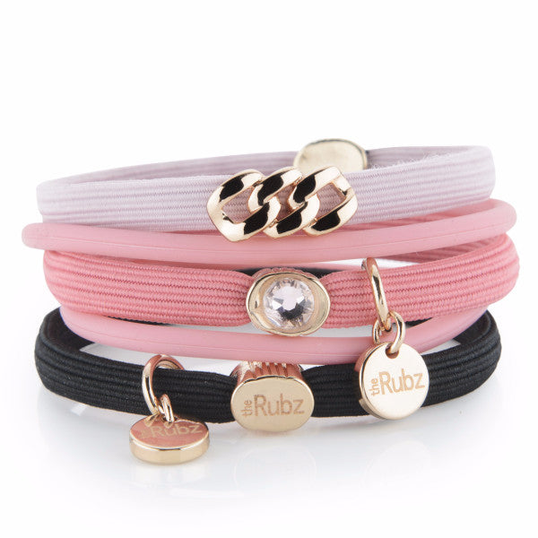 Hair Ties - Sorbet, Black & Rose with Rose Gold, The Rubz