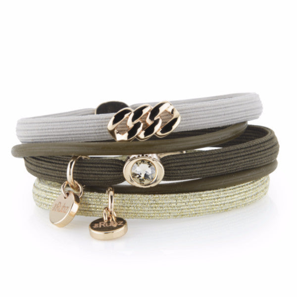 Hair Ties - Olive, Sand & Gold lurex with Soft Gold, The Rubz