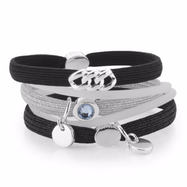 Hair Ties - Black & Silver lurex with Platin Silver, The Rubz - 1