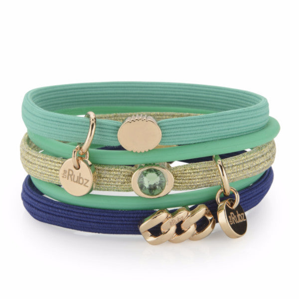 Hair Ties - Green, Navy & Gold lurex with Soft gold, The Rubz