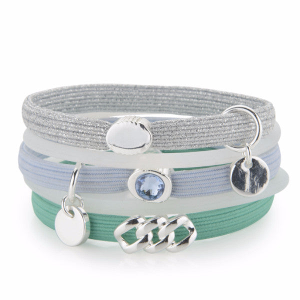 Hair Ties - Green, Light Blue & Silver lurex with Platin silver, The Rubz