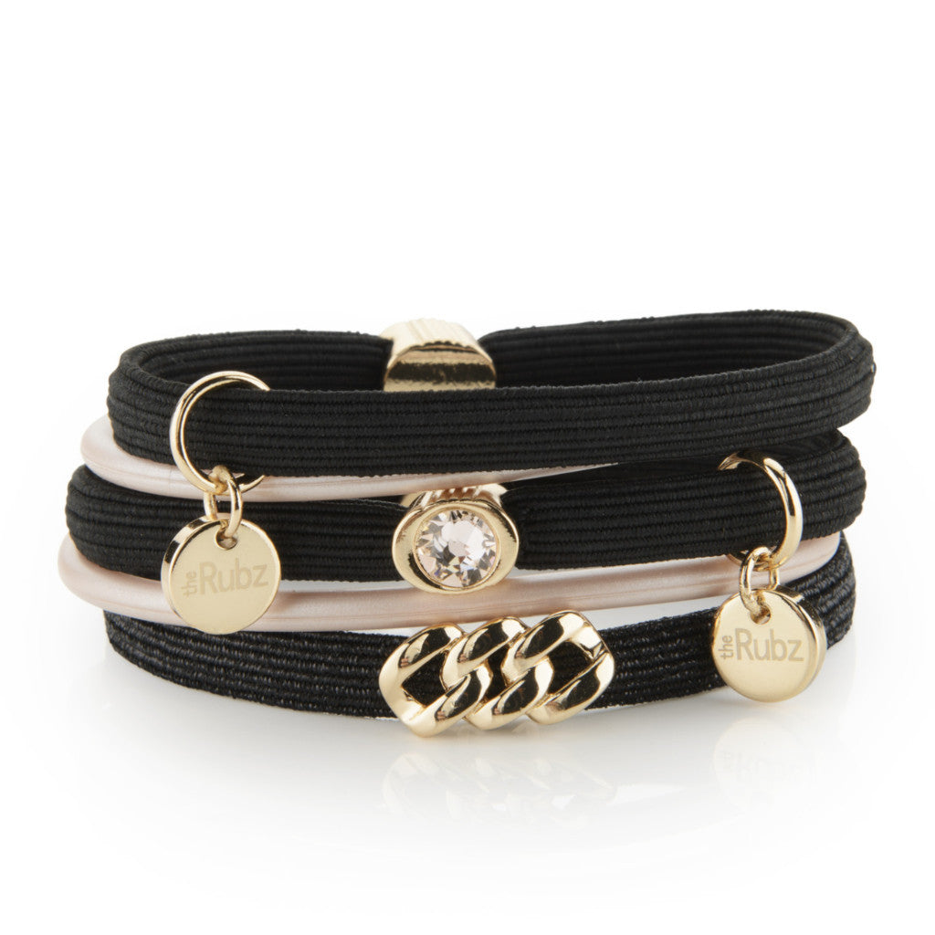 Hair Ties - Black & Black Lurex with Soft Gold