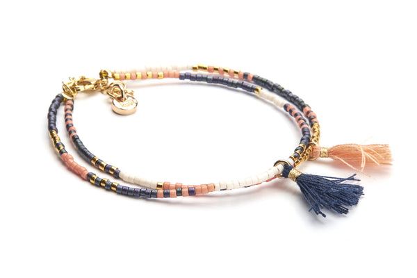Double Tassel - Blue Peach & Gold