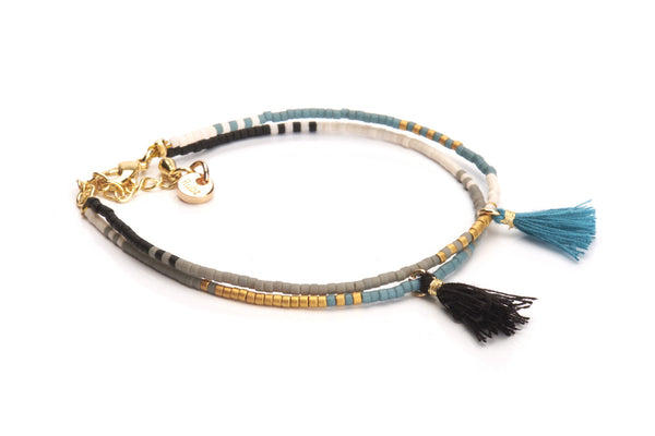 Double Tassel - Petrol Black & Gold