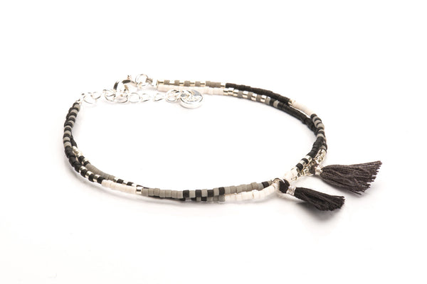 Double Tassel - Grey Black & Silver