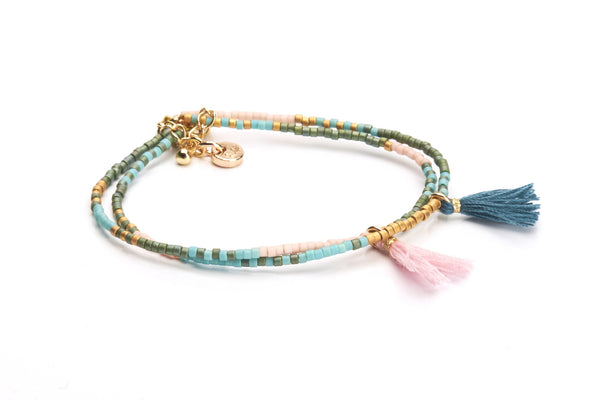 Double Tassel - Light Pink Petrol & Gold