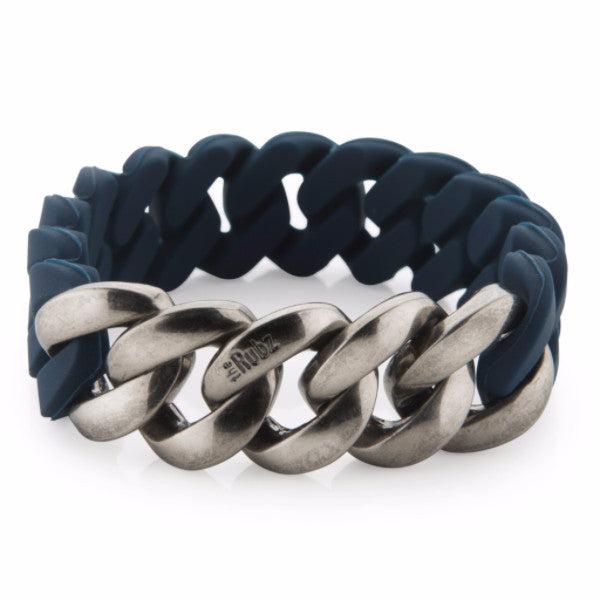 Mens Classic20mm - Navy & Antique Silver, The Rubz